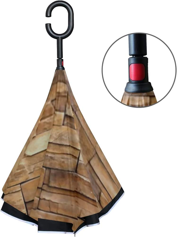 Double Layer Inverted Inverted Umbrella Is Light And Sturdy Close Brickwall Texture Background Reverse Umbrella And Windproof Umbrella Edge Night Ref