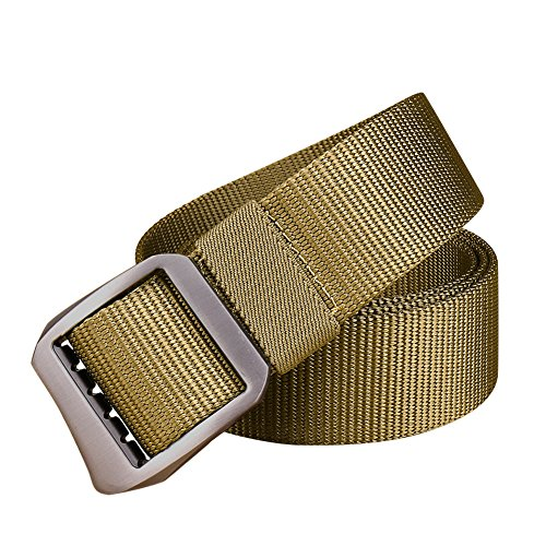 Officer Utility Belt For Police Costumes (Tactical Belt, Nylon Web Utility Belt Metal Buckle Military Style Belts Casual Outdoor Army Tactical Buckle Belt(Khaki))