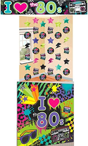 Amscan I Love The 80s Party Room Decoration Kit Bundle