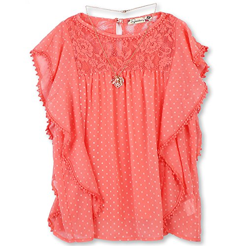 Speechless Girls' Big Dobby Batwing Circle Top, Coral, M