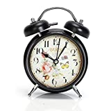 6.4''x4.6''x2.2'' Metal Twin Bell Alarm Clock,with Nightlight,glass on Front,Battery Operated (Paris)