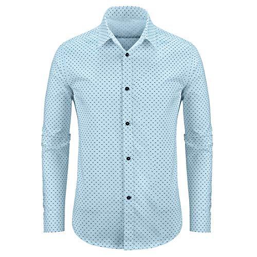 WULFUL Men's Casual Long Sleeve Dress Shirt Print Cotton Business Button Down Shirts Regular Fit Light Blue
