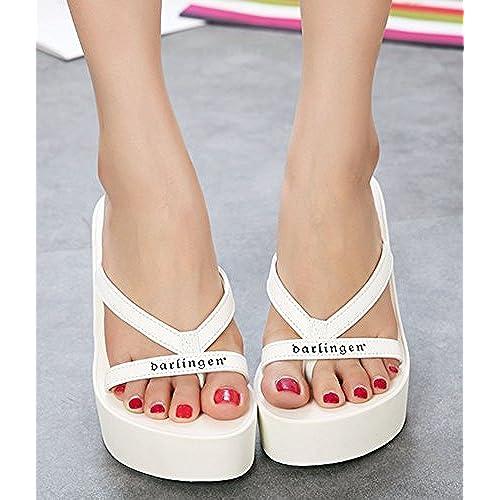 5cd5a6176d8 IDIFU Women s Trendy Printed High Heels Wedge Platform Flip Flops Sandy  Thong Sandals hot sale