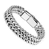 Globalwin Jewellery Stainless Steel Bracelet for Men Teens Braided Bracelets Unisex Bangle Cuff 12-22cm (8.66)