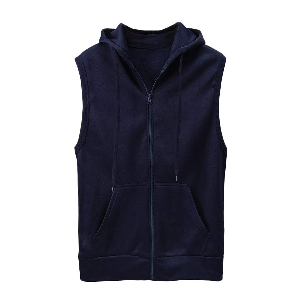 WUAI Clearance Men's Hoodie Jackets Sleeveless Slim Fit Waistcoat Solid Color Athletic Sports Tops(Navy,US Size M = Tag L) by WUAI (Image #5)