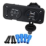 T Tocas(TM) Dual USB 2.1 Amp Charger and LED Digital Voltmeter Panel Mount Marine 12 V Motorcycle Outlet