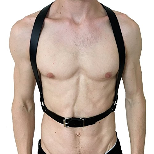 10e8bf3f35a36f HOMELEX Men Black Sexy Leather Adjustable Chest Half Harness Wedding  Suspenders (LM-018)
