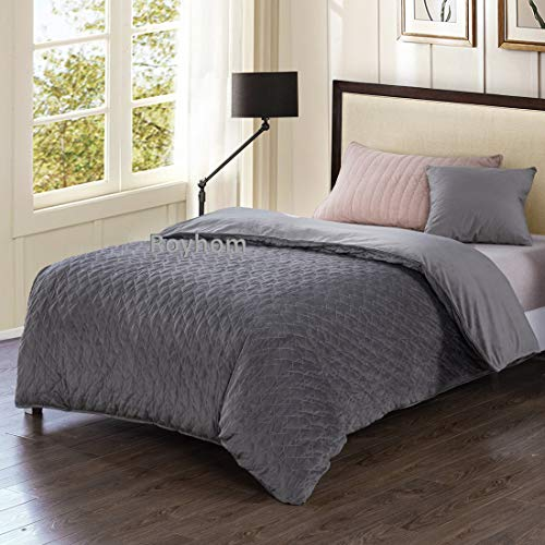 (Royhom Soft Quilted Duvet Covers with Zipper Ties, Rhombus Grey 48