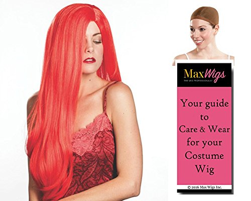 Jessica Rabbit color RED - Enigma Wigs Mrs. Red Long Wavy Framed Roger Bundle w/Cap, MaxWigs Costume Wig Care Guide]()