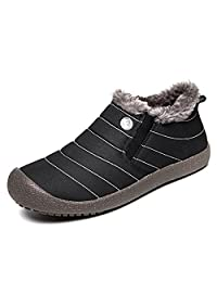 Men Waterproof Slip-On Snow Boots Fully Fur Lining High Top/ Low Top Winter Shoes for Outdoor/Hiking/Travel/Casual