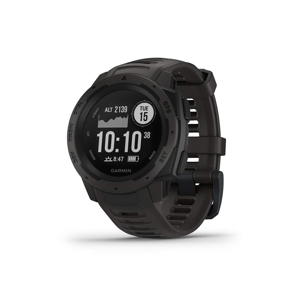 Garmin Instinct, Rugged Outdoor Watch with GPS, Features GLONASS and Galileo, Heart Rate Monitoring and 3-axis Compass, Graphite by Garmin