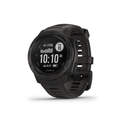 Garmin 010-02064-00 Instinct, Rugged Outdoor Watch with GPS, GLONASS and Galileo, Heart Rate Monitoring and 3-axis Compass (Graphite Black) Running Heart Rate Monitors at amazon
