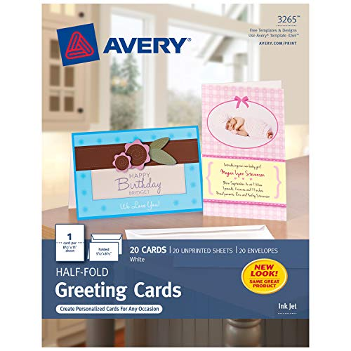 Avery Greeting Cards, Inkjet Printers, 20 Greeting Cards and Envelopes, 5.5 x 8.5, Folded (3265) ()