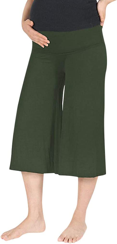 Sagton Maternity Pants Capri Pants High Waisted Tummy Solid Cropped Trousers Wine,M