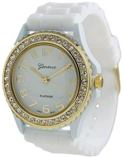 37mm Watch White Dial (Geneva Platinum Women's 6886.WHT White Silicone Quartz Watch with White Dial)