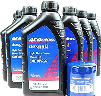 Amazon Com Ac Delco Dexosd 0w 20 Light Duty Diesel Engine Oil 19370138 10 9277 And Ac Delco Pf66 55495105 19391402 Oil Filter Oil Change Kit For 3 0l Duramax Diesel Lm2 Automotive