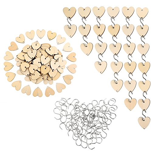 Heart Pieces (Bememo 100 Pieces Heart Shaped Wooden Slices with 2 Holes and 50 Pieces 1.1 Inch Stainless Steel S Hook for Birthday Board Calendar DIY Crafts)