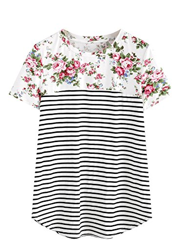 (ROMWE Women's Floral Print Short Sleeve Tops Striped Casual Blouses T Shirt Multicolor# M)
