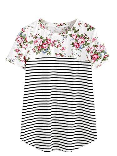 Blouse Blend (ROMWE Women's Floral Print Short Sleeve Tops Striped Casual Blouses T Shirt Multicolor# M)
