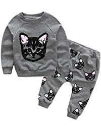Toddler Baby Girls Cute Cat Print Sweatshirt Pants Outfits Long Sleeve Winter Clothes