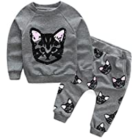 Vicbovo Toddler Baby Girls Cute Cat Print Sweatshirt Pants Outfits Long Sleeve Winter Clothes