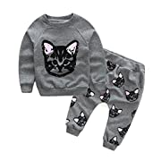 Vicbovo Clearance Sale Toddler Baby Girls Cute Cat Print Sweatshirt Pants Outfits Long Sleeve Winter Clothes (Gray, 2T)