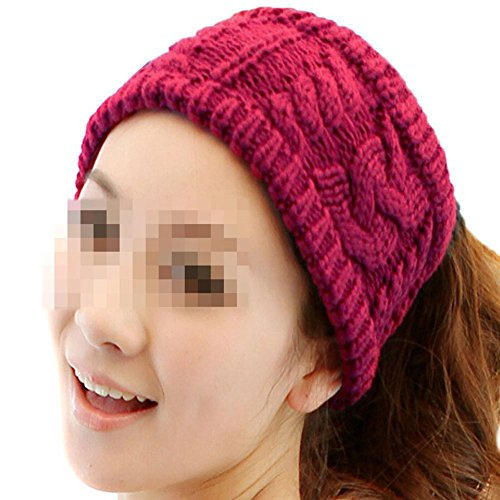 Price comparison product image Nsstar Women Lady Grils Winter Warmer Korea Knit Crochet flora Twist Style Hair Band Headband Head Wrap Hair Band Ear Warmer with 1PCS Free Cup Mat Color Random (Red)