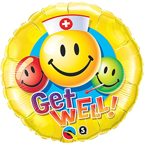 Party Balloon Well Get - Pioneer Balloon Company Get Well Smiley Face Balloon, 18