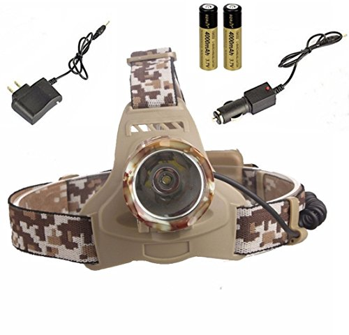 Paradisiac Popular 3-Mode LED 3000Lm Headlamp Rechargeable Portable Light Headlight Color Camouflage with Battery Car Charger