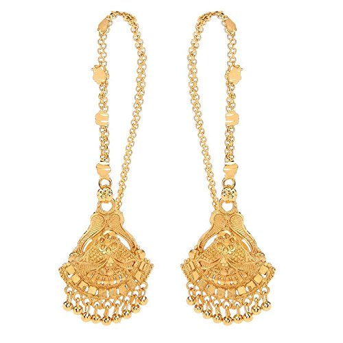 GoldNera Traditional Bollywood style Classic Gold Plated Pair of Ear chain (Indian Style Earrings)