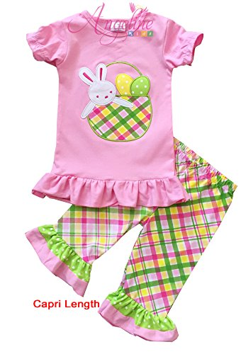 Boutique Clothing Girls Easter Bunny Basket Eggs Outfit Clothing Set Pink Plaid 3T/M