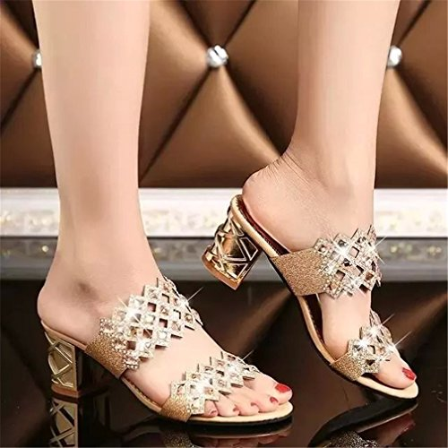 Outs Haut Sandales Femmes Strass Sandales Party Talon Dames Lumino Hot Chaussures Gold Cut D'été Mode Femme qF1xBwI