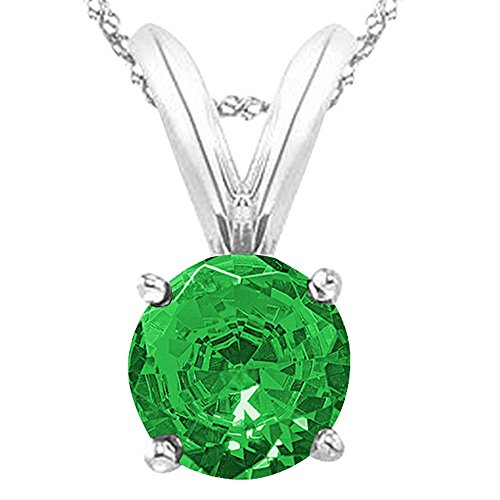(Houston Diamond District 1/2 0.5 Carat 14K White Gold Round Emerald 4 Prong Solitaire Pendant Necklace (AAA Quality) W/ 16