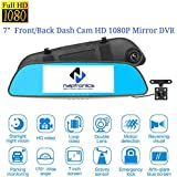 Naptronics 7 in. Touch Screen Full HD 1080P Dash Cam Car Camera Rearview Mirror Car Camcorder+ Backup Camera With G-sensor