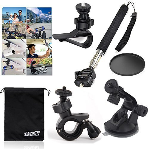 EEEKit 6in1 Basic Kit for Sony Action Cam GoPro JVC Action Sports Camera,Handheld Monopod,Car Sun Visor Mount,Bike Handlebar/Car Suction Mount