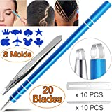 Eyebrow Hair Tattoo Razor Pen For Hair Art Design (20 Blades + 1 Tweezer + 8 Stencils) - Professional Accessories Barber Pencil Engraving Shaver Device, Magic Eye Brow Beard Styling Shaving Tools Kit