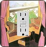 Rikki Knight 2929 GFI Single Juan Gris Art Open Windows with Hills Design Light Switch Plate