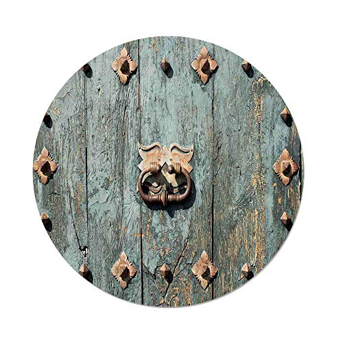 - Polyester Round Tablecloth,Rustic,European Cathedral with Rusty Old Door Knocker Gothic Medieval Times Spanish Style Decorative,Turquoise,Dining Room Kitchen Picnic Table Cloth Cover,for Outdoor Indo