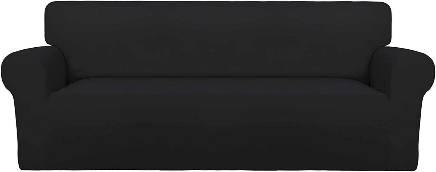 PureFit Super Stretch Sofa Slipcover – Spandex Non Slip Soft Couch Sofa Cover, Washable Furniture Protector with Non Skid Foam and Elastic Bottom for Kids, Pets (Sofa, Black)
