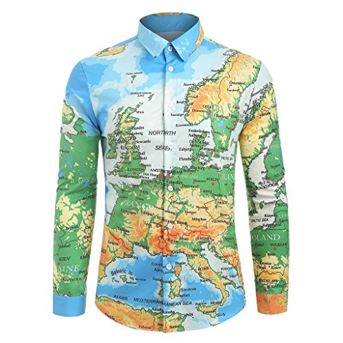 NIUQI Fashion Men's Casual World Map 3D Print Long Sleeve Turn-Down Collar T-Shirt Top -