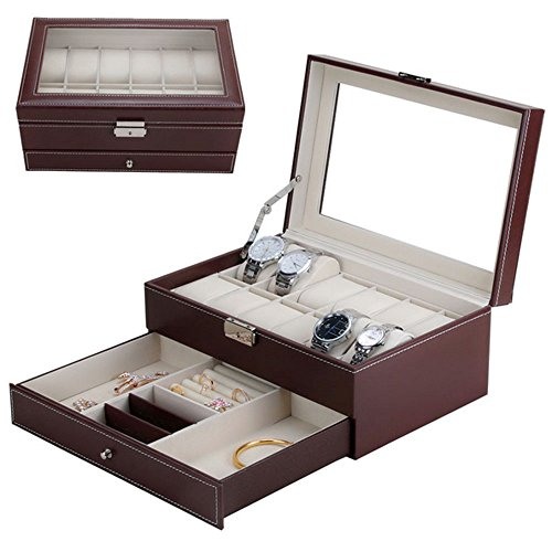 Double-layer PU Leather Watch Jewelry Display Box,12 Grid with Watch Pillows,Lockable Jewelry Storage Box,12 x 7.9 x 5.5