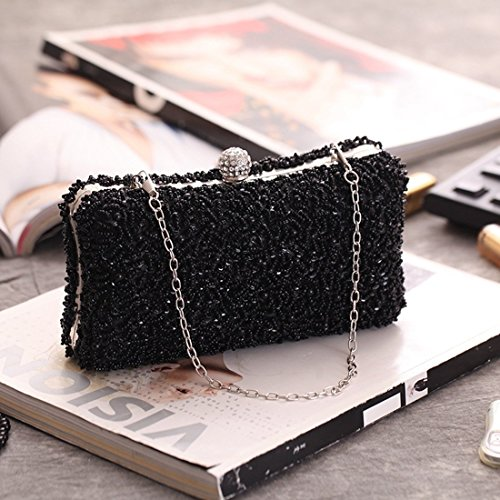 Handbag Bag Evening Beaded Color Black Purse Party Dress Wedding KERVINFENDRIYUN Bag Clutch Gold xFwq6Xz