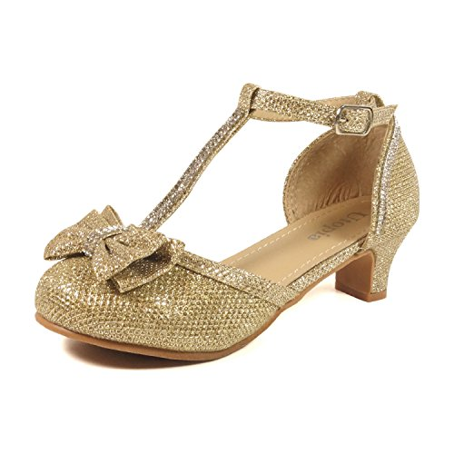 Nova Utopia Girls Low Medium Heel Dress Sandal Flower Girl Shoes,NF Utopia Girl NFGFH58H Gold 11 ()