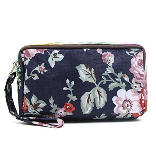 3 Clutch Wrist Wristlet Purse Strap Layers Bag Wallet With Pink Long Nylon Flower Women��s fqgUI1