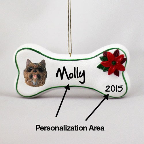 Delightful Animal Den Cairn Terrier Personalizable Dog Bone Christmas Ornament Brindle Hand Painted