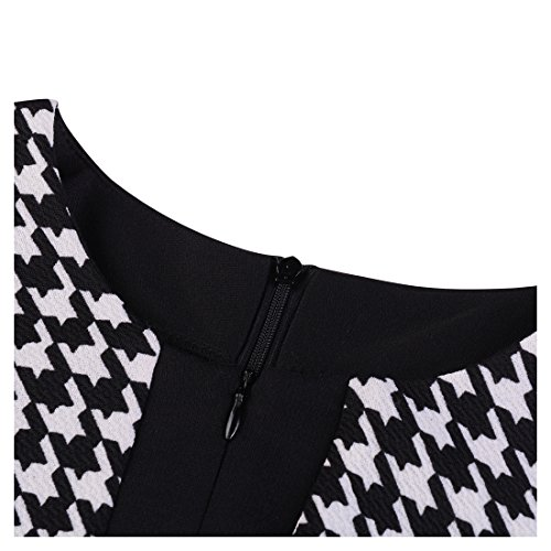 Dress Women's Bodycon Print Work Black Business Hounds Pencil Tooth Miusol 8Fn1TBB