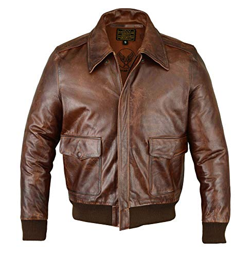 Fivestar Leathers Men's Air Force A-2 Leather Flight Bomber Jacket - Brown (XL) (A2 Jacket)