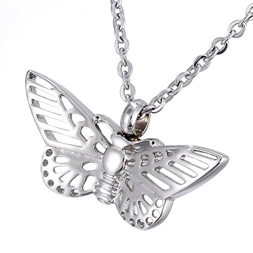 - KY Hollow Butterfly Memorial Urn Pendant Necklace Stainless Steel Detachable Ashes Keepsake Cremation Jewelry
