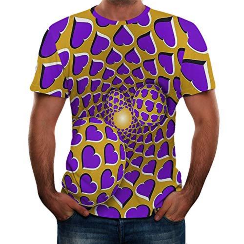 MILIMIEYIK Blouse Unisex 3D Realistic Printed Casual Short Sleeve T-Shirts Purple -