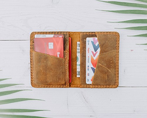 Pegai Minimalist Bifold Wallet, Distressed Leather Wallet - Knox | Cinnamon Brown